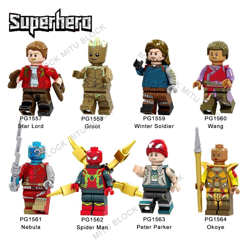 Single Sale Super Heroes Brick Star Lord Grot Winter Soldier Wang Nebula Spider Man Peter Parker Okoye Building Block