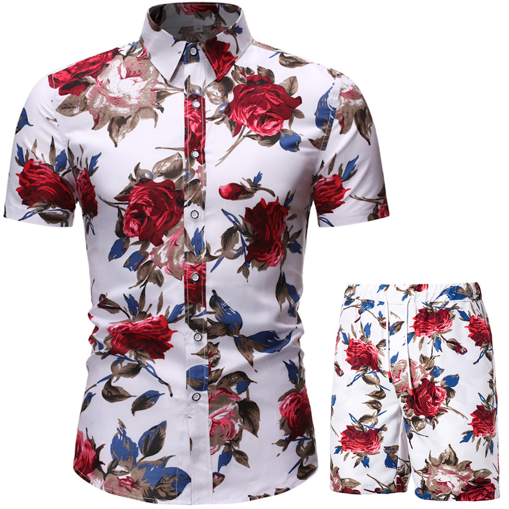 Hot DealsMens Sets Summer Fashion Floral Print Shirts Men+Shorts 2 PCS Suits Men Short Sleeve Shirts Casual Male Clothing Sets Tracksuit