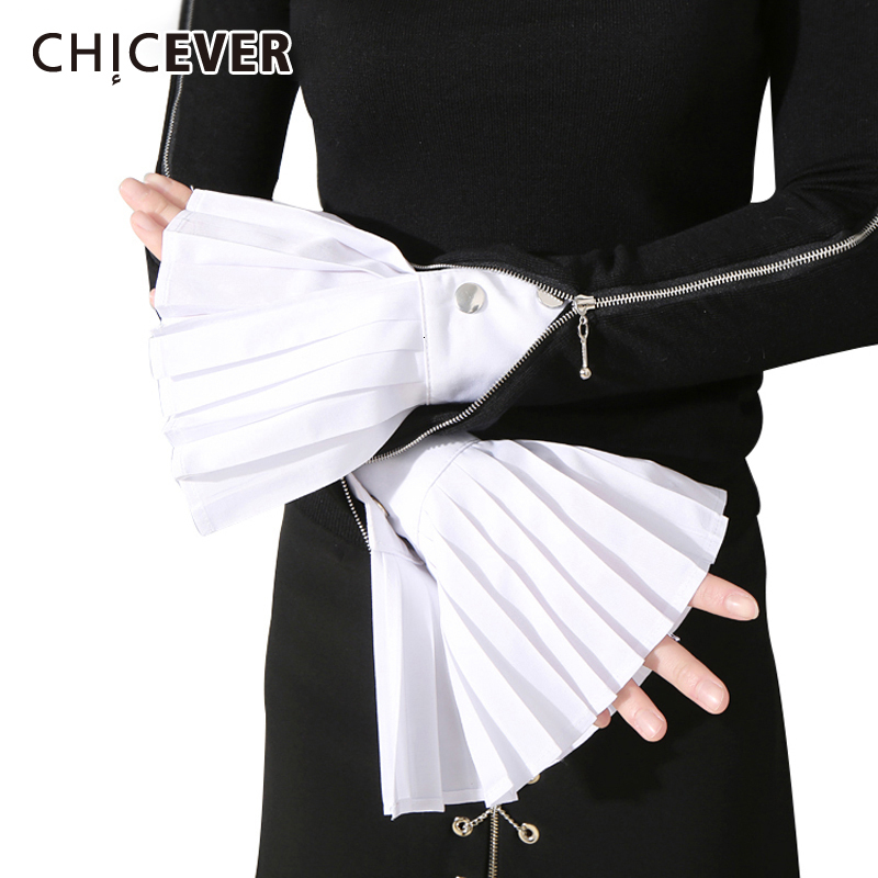 CHICEVER Korean Ruched Women's Gloves Flare Loose Casual Buttons Spring Cuff Accessories Glove Female 2020 New Fashion Clothes
