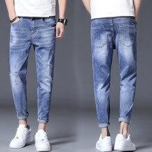 Calças de brim rasgadas calças de brim masculinas marca casual diariamente moda calças de brim fino ajuste masculino rua magro pant vintage juventude 802