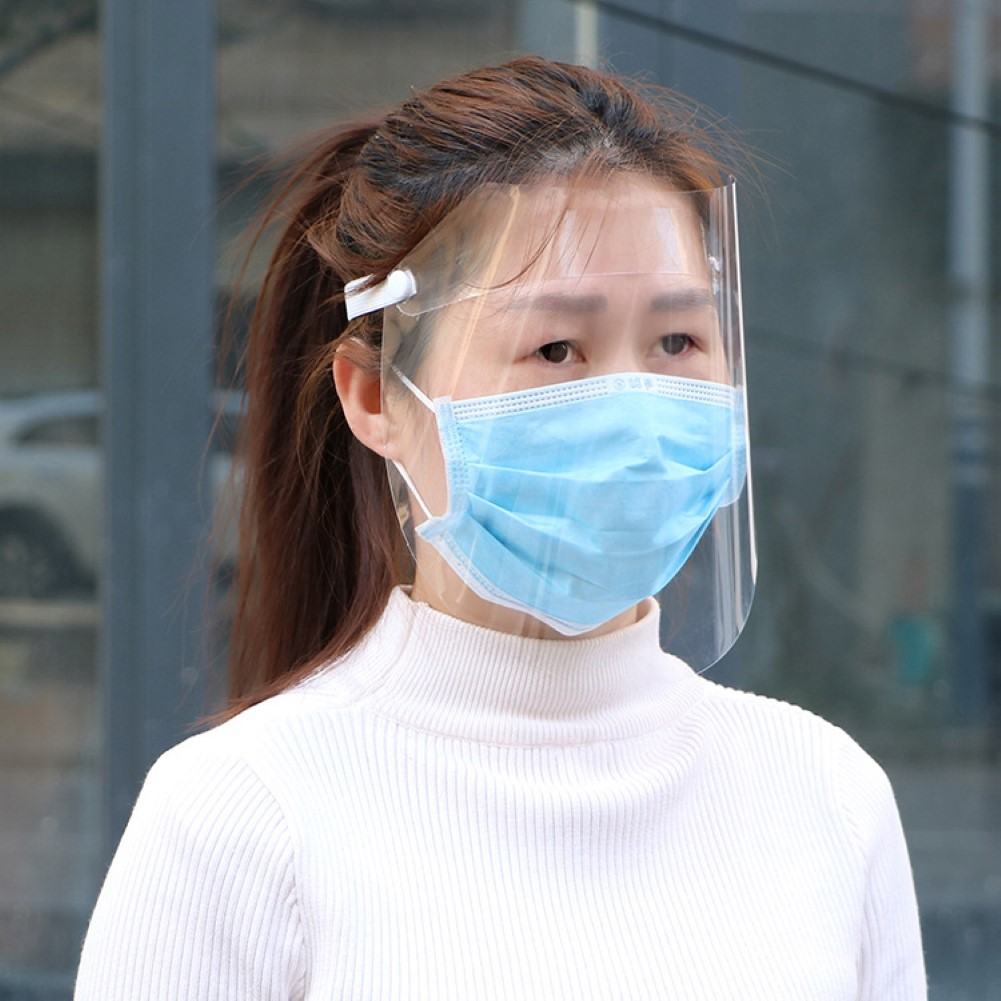 New Portable Transparent Full Face Protective Mask Visor Windproof Face Shield Screen Washable Reusable