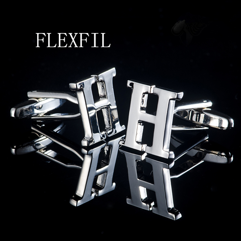 FLEXFIL Jewelry French Shirt Cufflink For Mens Brand Designer Cuffs Link Button Male High Quality H Luxury Wedding Wholesale