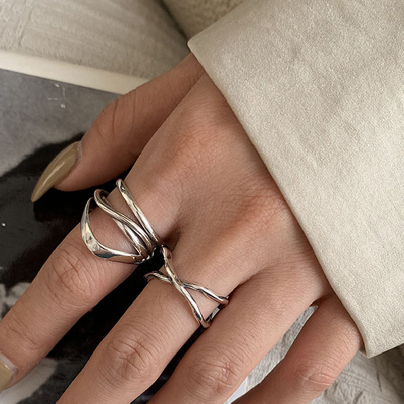 XIYANIKE 925 Sterling Silver Vintage Cross Winding Finger Rings for Women Couple Minimalist Party Jewelry Gift Prevent Allergy 5