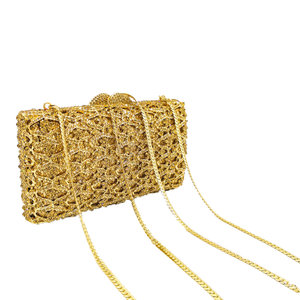 Image 4 - Boutique De FGG Hollow Out Women Gold Evening Bags Crystal Clutch Handbags and Purses Wedding Gala Dinner Ladies Minaudiere Bag