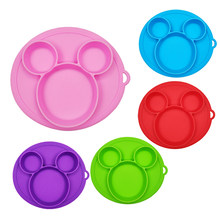 Baby Safe Siliconen Eetkamer Plaat Solid Leuke Cartoon Kinderen Gerechten Zuig Waggel Training Servies Kids Feeding Bowls(China)