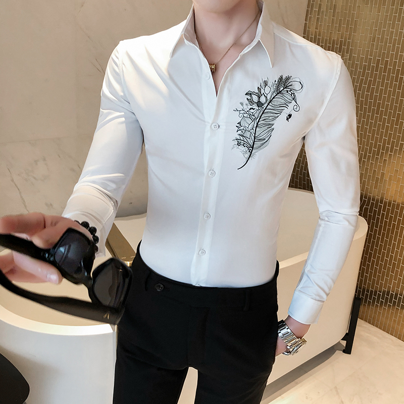 Feather Embroidery Shirt Camisa Hombre Clothing Men Club Party Wedding Shirt Men Chemise Homme  Camisa Masculina Men Long Sleeve
