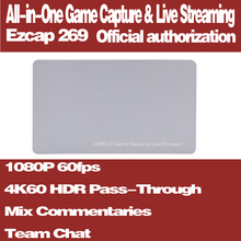 Ezcap 269 4K Hdr Pass-Through HDMI2.0 Game Capture Card USB3.0 Video Opnemen En Live Streaming 1080P 60fps Met Team Chat