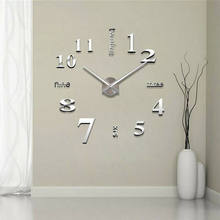 Horloge murale à grand nombre de Surface miroir 3D, bricolage, décoration de maison, salon, Design artistique