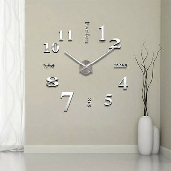 DIY 3D Mirror Surface Large Number Wall Clock Sticker Home Decor Mirror Living Room Large Art Design Wall Clock perfect diy 3d art wall clock decals breaking cracking wall clock sticker office home wall decor gift 15 x15