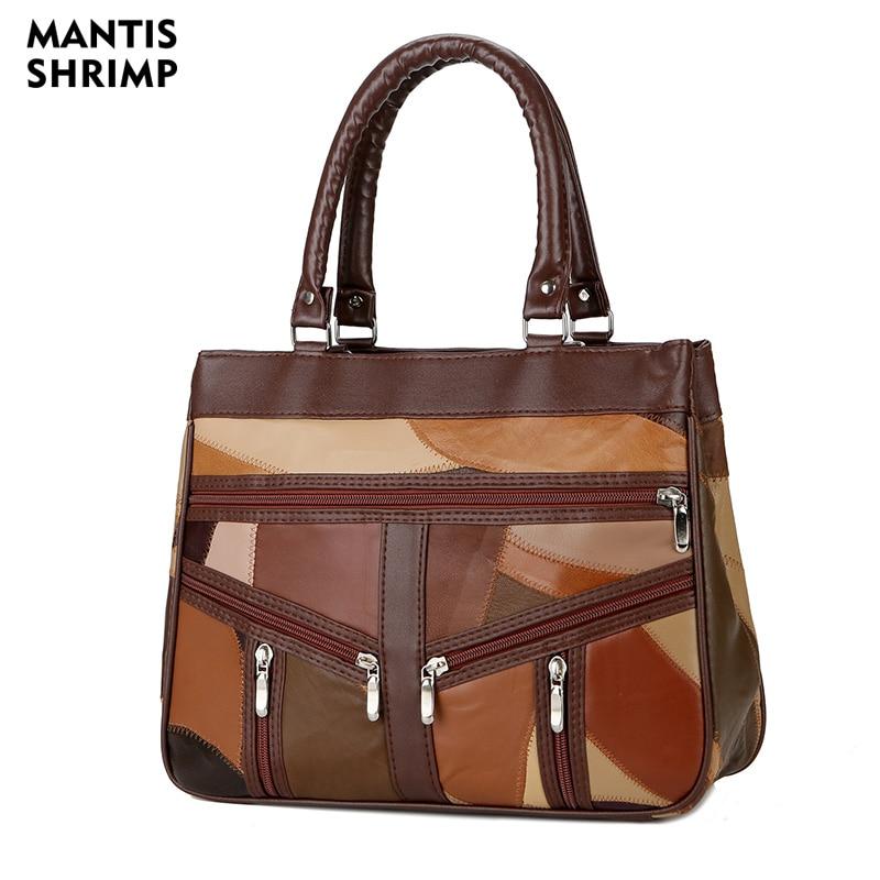 Genuine Leather Bags Women Top-Handle Bags Sheepskin Handbags Women Bag Designer Soft Shoulder Bag Lady Patchwork Crossbody Bag