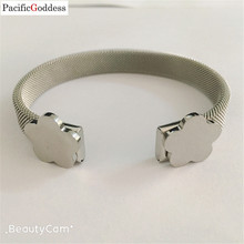 bear bracelet bangle flower sharp Stainless Steel Mesh bangle  Jewelry best Gift Cuff Bracelets jewelry free ship high quality