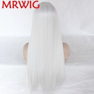Image 3 - MRWIG Glueless 합성 레이스 프론트 가발 프리 파트 화이트 컬러 롱 스트레이트 하프 핸드 타이 교체 가능 permed dye