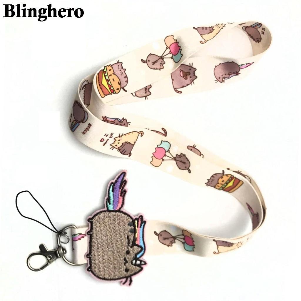 CA698 Cute Cat Key Lanyard ID Badge Holder Animal Mobile Phone Neck Strap With Key Ring 1PCS