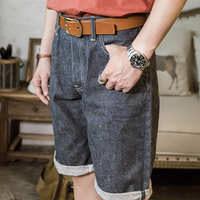 Red Tornado Snow Wash Raw Denim Shorts For Men 14oz Selvedge Jeans Relaxed Fit