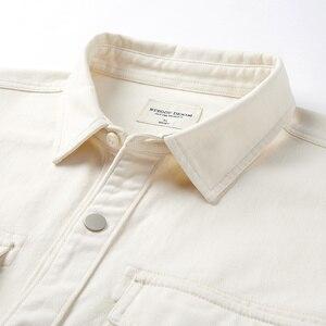 Image 4 - KUEGOU 2019 automne 100% coton épais blanc chemise hommes robe bouton décontracté mince coupe à manches longues pour homme marque de mode Blouse 0224