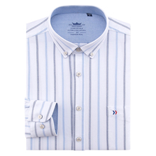 цена на Men's 100% Oxford Cotton Regular-fit Long Sleeve Button Down Dress Shirt with Pocket Smart Casual Solid/Plaid/Striped Top Shirts
