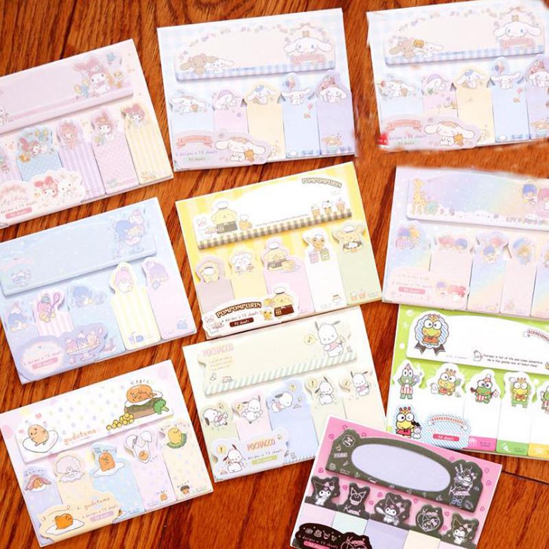 1 Pcs Cartoon Anime Melody Twin Star Frog Purin Dog Gudetama Kuromi Paper Finger Sticky Notes Memo Pads School Office Stationery