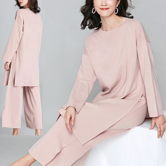 New Brief Elegant Two-piece Set Women's Loose O-neck Knitted Pullover Side Slit Long Sleeve Sweater Dresses&pants High Quality 1