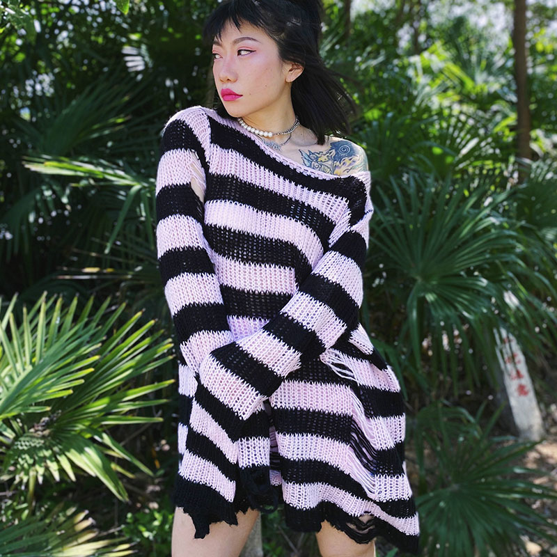 Oversized Grunge Stripped Sweater