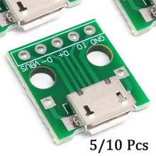 Yeni 10 adet mikro USB DIP adaptörü 5pin dişi konnektör B tipi PCB dönüştürücü Breadboard anahtarlama paneli SMT anne koltuk