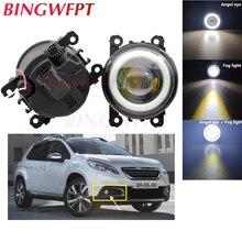 2x High power H11 LED Fog Lamps Angel Eye light with Glass len 12V For Peugeot 2008 13-16 For Peugeot 307 Hatchback 3A 3C 00-08
