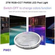 Miboxer 27W RGB+CCT PAR56 LED Pool Light AC12V/DC12-24V IP68 underwater lamp;FUT086 8-Zone 433MHz Remote Controller