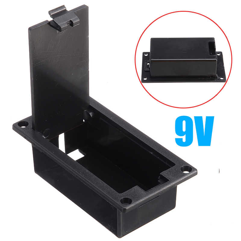1x 9v Flat Guitar Bass Batteriehalter Tasche Nylon Container Instrumente