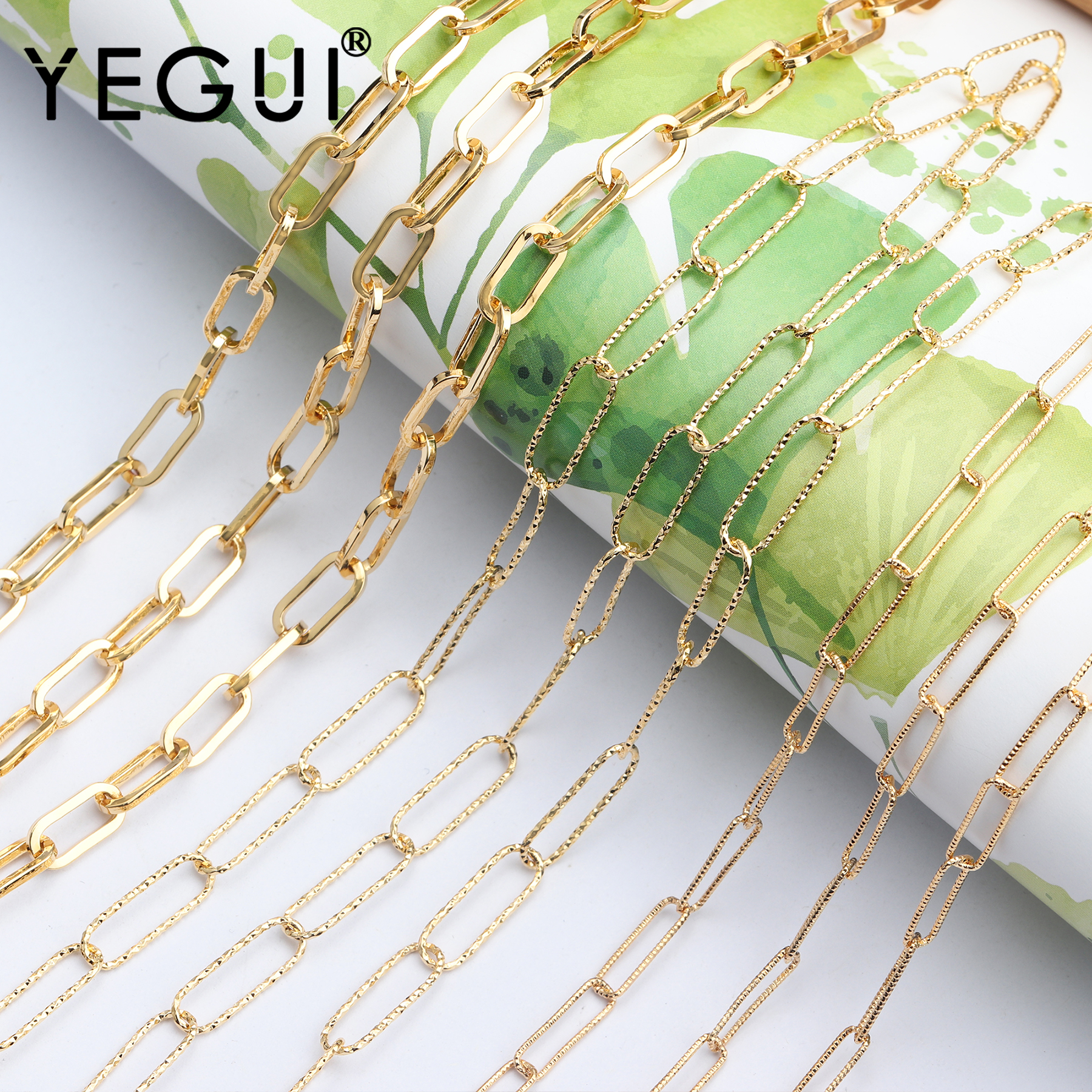 YEGUI C73,diy Chain,18k Gold Plated,jewelry Accessories,hand Made,copper Metal,diy Chain Necklace,jewelry Making,1m/lot