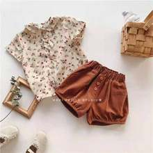 Conjunto Infantil Menina Kids Clothes Summer Girls Floral Shirt Two Piece Set Shorts Fashion 2021 New Children