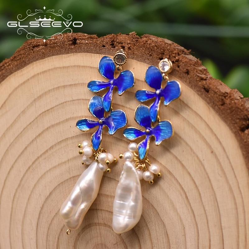 GLSEEVO doğal inci emaye işi kelebek damla küpe kadınlar için basit el yapımı lüks mücevher Pendientes Mujer Moda GE0977
