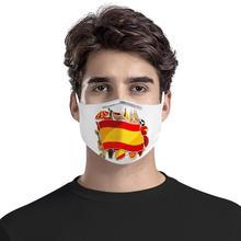Испанский пользовательские флаг шаблон 4шт фильтр маски карбоновая вставка анти-респираторы многоразовые анти-заразы маска для лица с 3D узором Испания