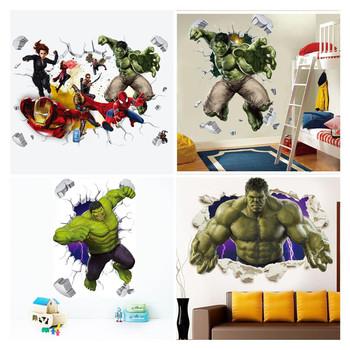 3D avengers naklejki ścienne salon sypialnia dekoracje ścienne film o superbohaterach plakat na ścianę naklejki na pokoje dla dzieci tanie i dobre opinie Disney CN (pochodzenie) Płaska naklejka ścienna AMERYKAŃSKI STYL Do płytek For Wall Naklejki na meble Jednoczęściowy pakiet