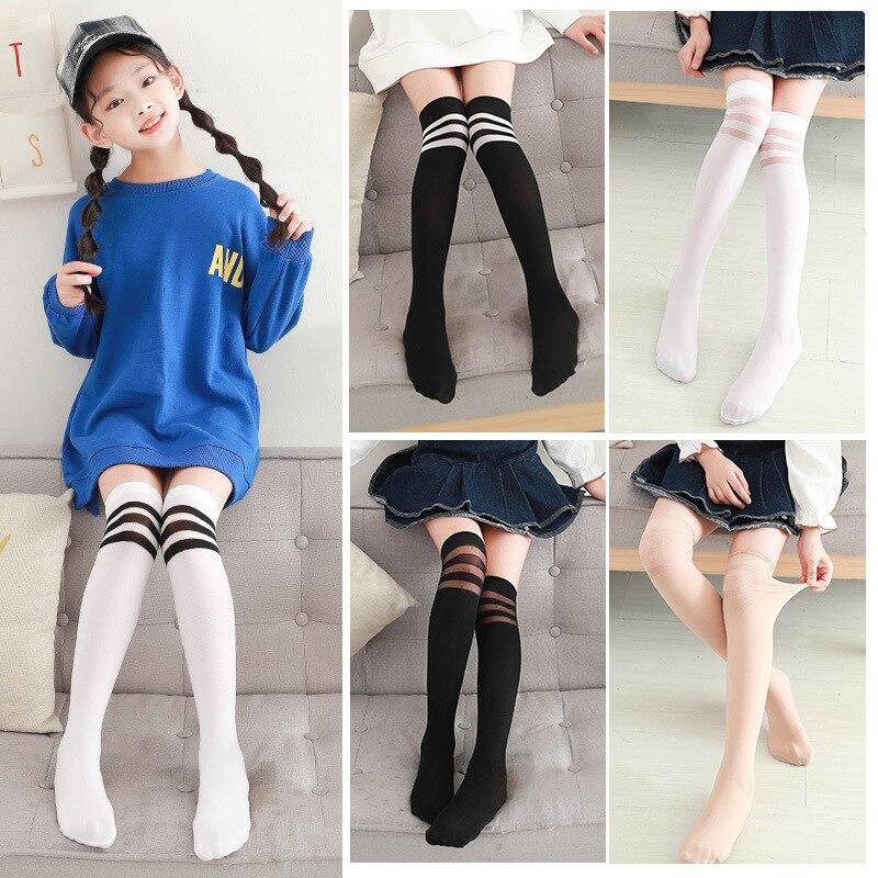 Spring And Summer Thin Girls Have Knee Stockings Anti-pilling Children Tube Socks White Boots  Students' Socks Half Length Sock