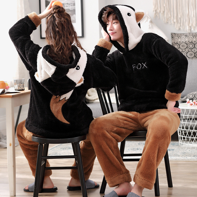 Autumn / Winter Long Sleeve Plush Coral Couple Pyjamas Men And Women Thickened Home Suit