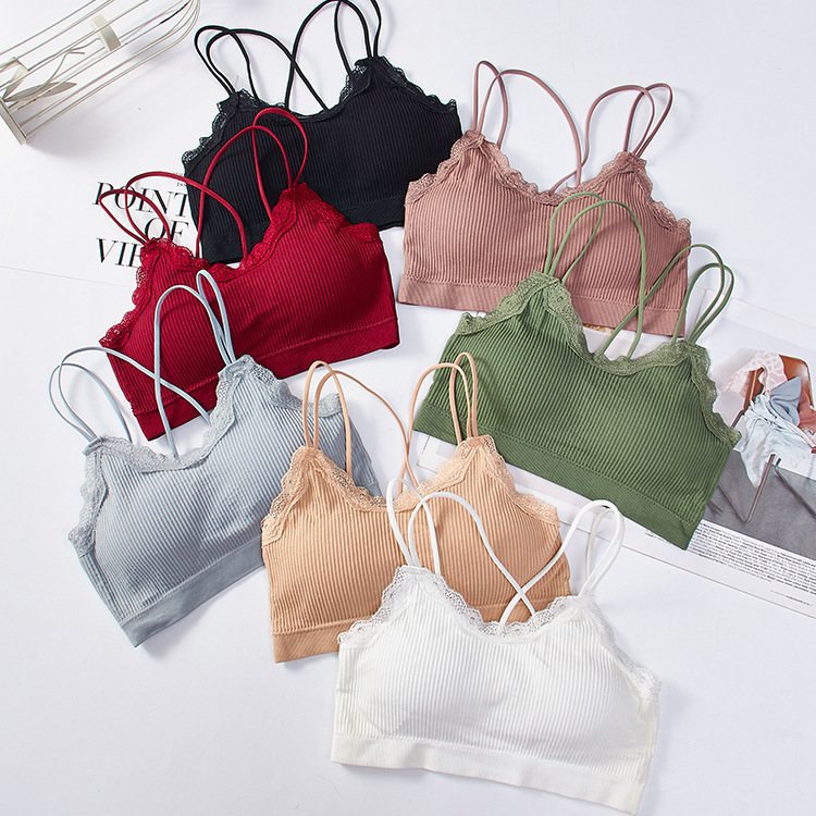Sexy Lace Fitness Woman Sports Crop Top Cross Back Woman'S Sports Top Padded Push Up Stuffed Bra Gozia Top For Fitness Running