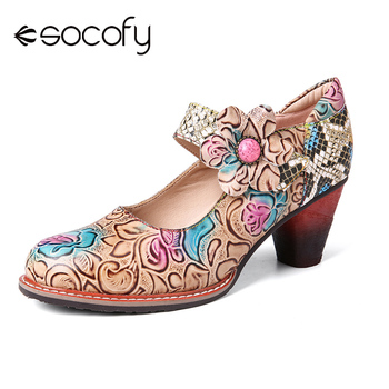 SOCOFY Retro Leather Embossed Rose Splicing Floral Sequined Round Toe Mid Heel Pumps Women Shoes Botas Mujer 2020