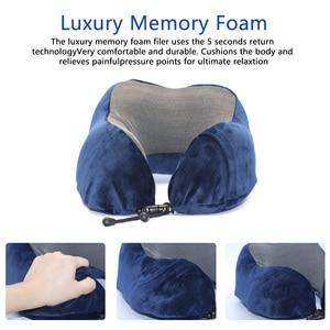 Image 2 - U Shaped Memory Foam Neck Pillows Soft Travel Pillow Neck Cervical Airplane Pillow 30*28*14CM Cervical Travel Healthcare Bedding