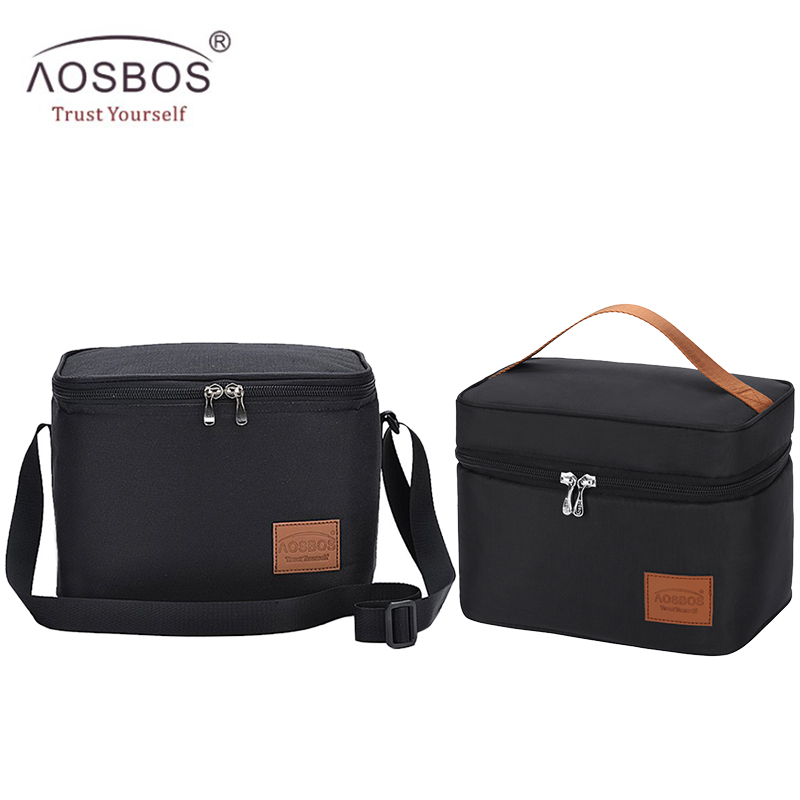 Aosbos Portable Thermal Lunch Bags For Women Kids Men Fashion  Picnic Cooler Lunch Bag Insulated Travel Food Tote Bags Box 2019