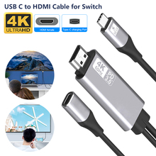 USB-C to HDMI-compatible cable Type C Screen Sharing 4K HD 60Hz Plug and play 1.8M long line design display receiver PD3.0 stick
