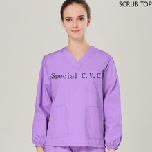 Women Long Sleeve Scrub Top Cotton Solid Color Spa Hospital Uniforms V Neck Top Vet Uniforms Dentist Pharmacy Workwear