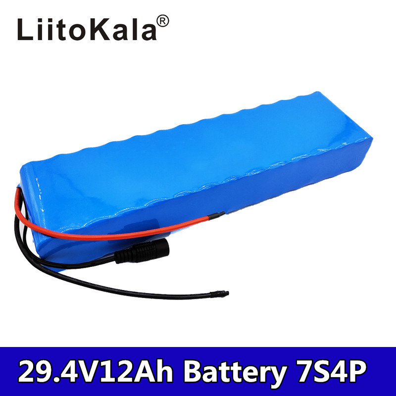 2019LiitoKala 12Ah 7S4P 29.4v electric bike motor scooter ebike 24v li ion battery pack <font><b>18650</b></font> 15A rechargeable lithium batteries image