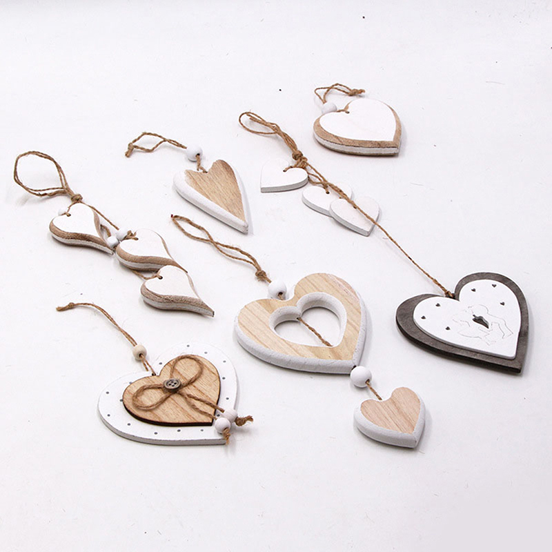 New Style DIY Crafts Pendant Wooden Heart Desgin for Party Wedding Valentine's Day Hanging Ornament Nordic Vintage Creative Deco