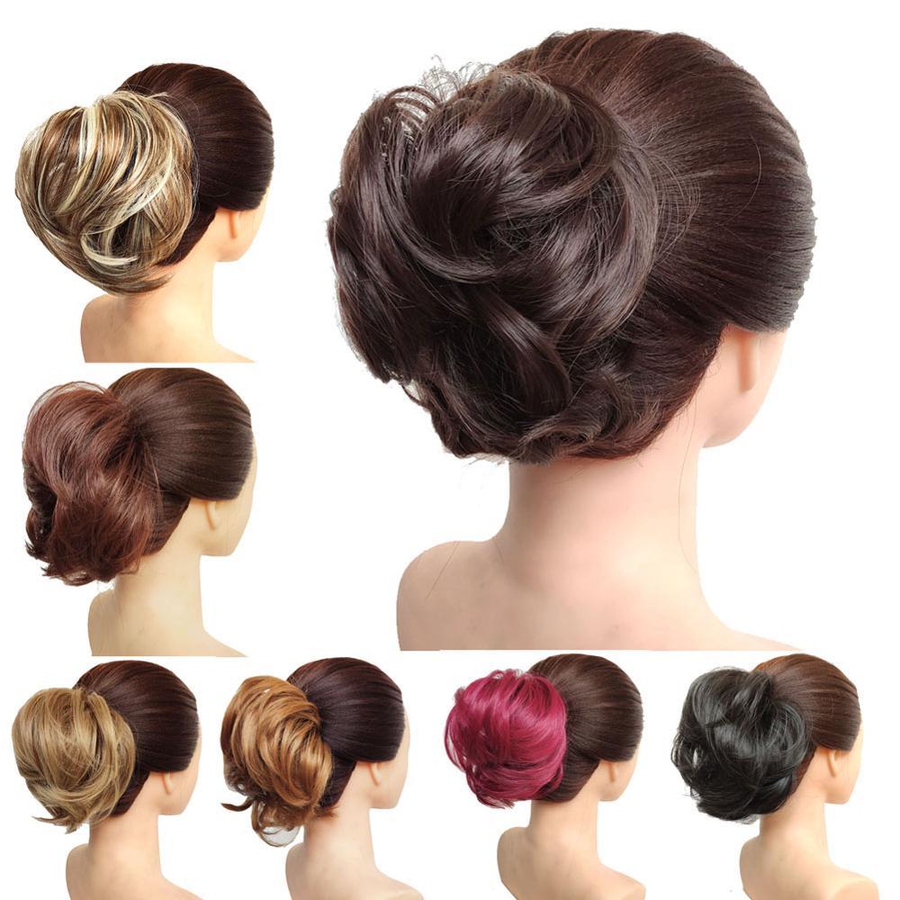 Искусственный шиньон jeedou, 30 г, синтетический бублик для волос пучок, накладки, Популярные Высокие боковые булочки, трендовые накладки для волос средней длины