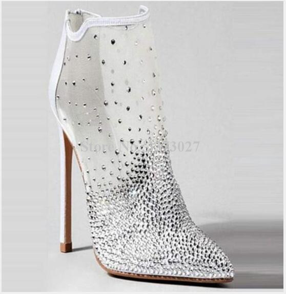 Lady New Mesh Crystal Sandals Ankle Boots Women Pointed Toe Stiletto Heel Colorful Rhinestone Stiletto Heel Gladiator Sandals
