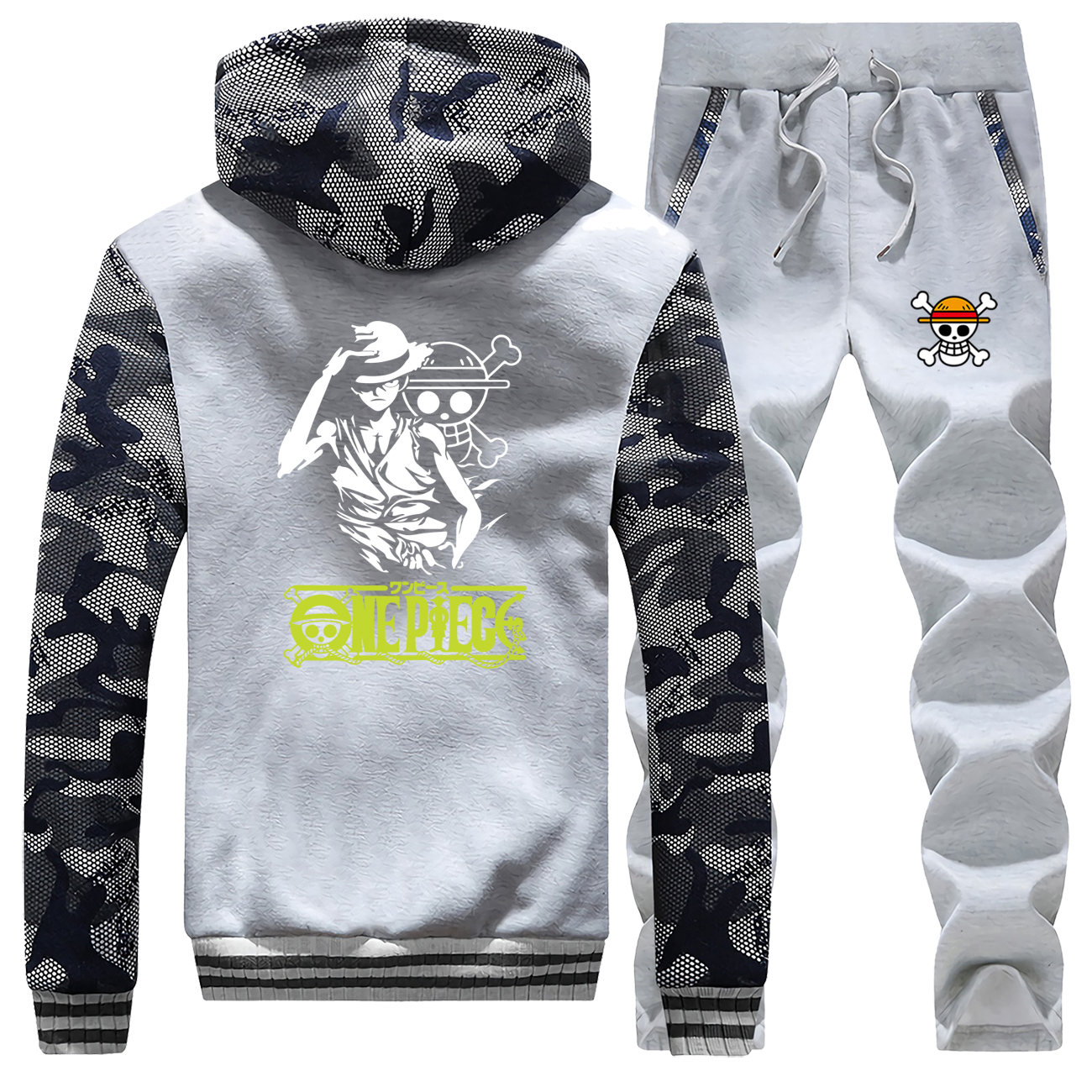 Luffy Caroon Printed One Piece Hot Sale Winter Coat Thick Suit Camouflage Mens Hoodies Sportswear Warm Jackets+Pants 2 Piece Set