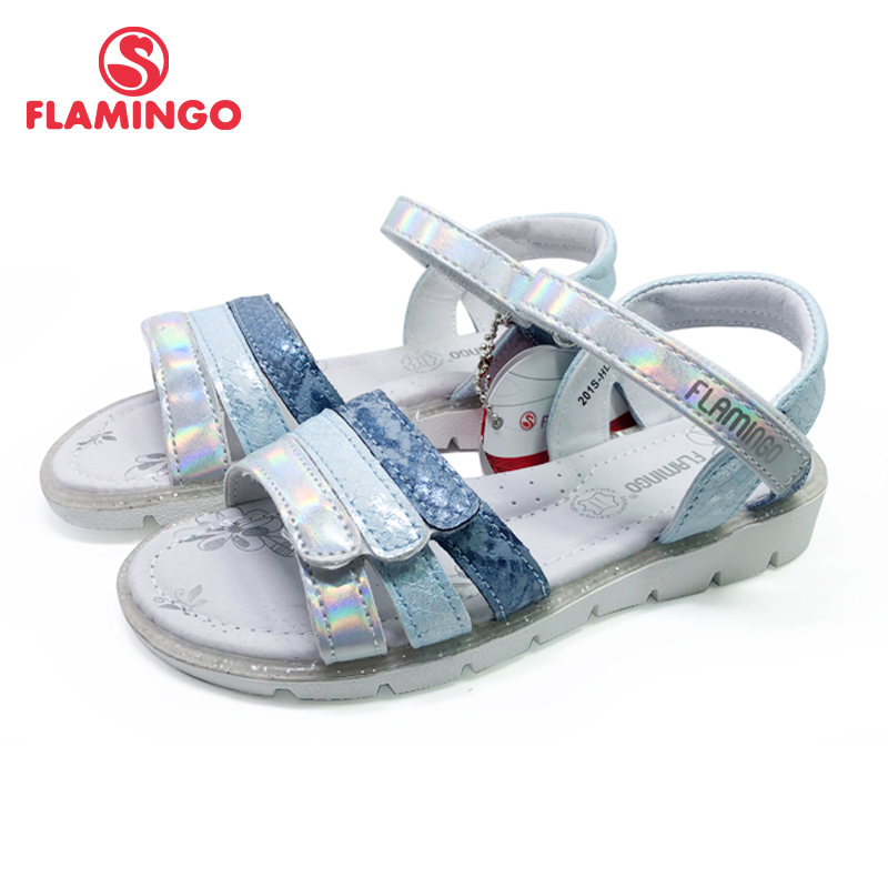 FLAMINGO 2020 Summer Kids Sandals Hook& Loop Flat Arched Design Chlid Casual Princess Shoes Size 31-36# For Girls 201S-HL-1761