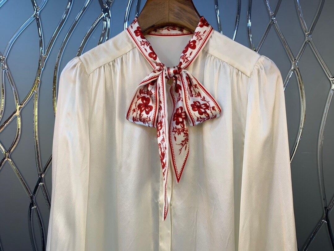 2019 neue Elegante Vintage Gedruckt Bogen Kragen Seide Frauen Langarm Shirt Kostenloser Versand Weltweit - 2