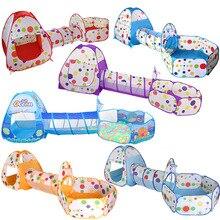 3 In 1 Kinder Indoor Outdoor Krabbeln Klapp Spiel Haus Polka Dot Tunnel Schießen Marine Ball Pool Spielzeug Kinder Zelt geschenke