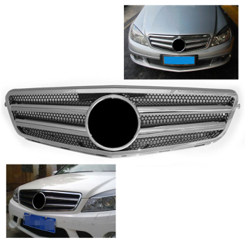 Auto Car Front Grille 2-Pin Mesh Grill For Mercedes-Benz W204 C-Class C300 C280 C200 C350 2007-2014 Chrome Silver ABS Plastic image