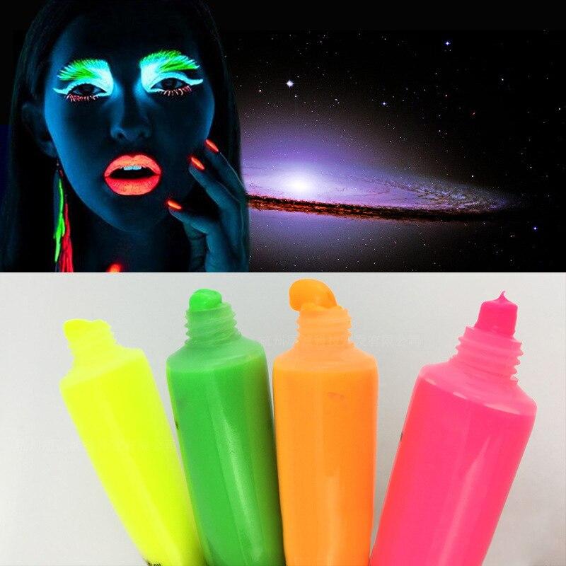 12Pcs/Set Halloween Makeup Neon Fluorescent Body Paint Luminous Pigment Body Art Painted Luminous Paint Blonde Light Acrylic Pai